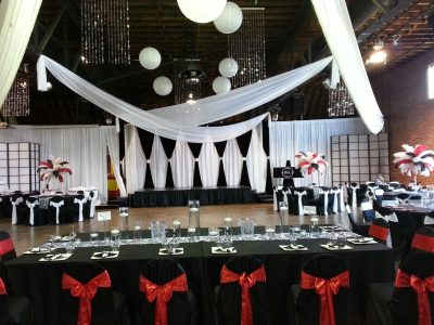 Black and White Drape with White Swag