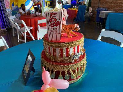 Cicrus popcorn cake centerpiece