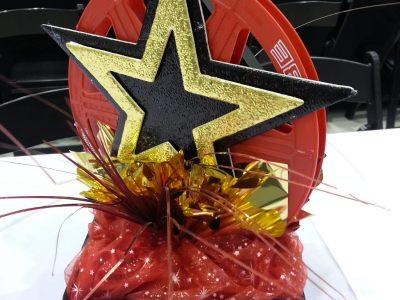 centerpiece red film reel, stars