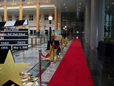 founders hall entrance red carpet